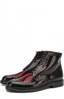Высокие кожаные ботинки на шнуровке с брогированием ROBERT CLERGERIE