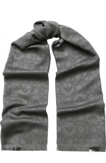 Шерстяной шарф с необработанным краем Emporio Armani