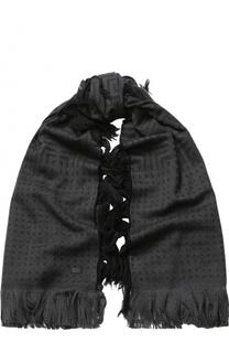 Шерстяной шарф с бахромой Emporio Armani