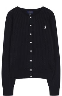 Хлопковый кардиган фактурной вязки Polo Ralph Lauren
