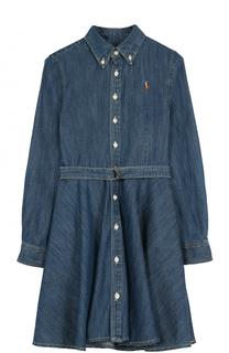 Платье из денима с поясом Polo Ralph Lauren