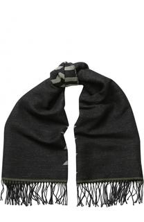 Шерстяной шарф с принтом и бахромой Kenzo