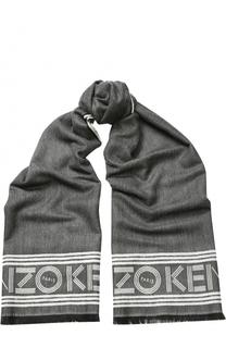 Шарф из смеси шерсти и вискозы с логотипом бренда Kenzo