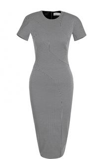 Приталенное платье-миди с принтом гусиная лапка Victoria Beckham