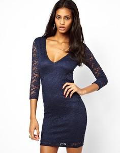 Кружевное облегающее платье мини с V‑образным вырезом ASOS - Синий