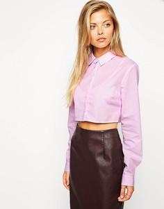 Укороченная рубашка в ярко-розовую полоску ASOS - Розовый