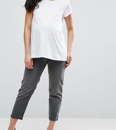 Укороченные серые джинсы с оборванным краем ASOS Maternity Maddox Parallel - Серый