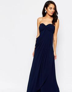 Платье макси в стиле бандо с рюшами Jarlo Petite Claudia - Темно-синий