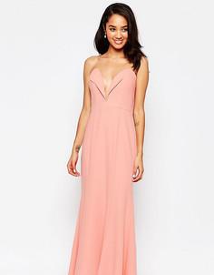 Платье макси бандо с вырезом сердечком Jarlo Petite Helena - Розовый