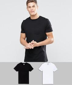 2 удлиненных футболки с круглым вырезом (черная/белая) ASOS - СКИДКА - Мульти