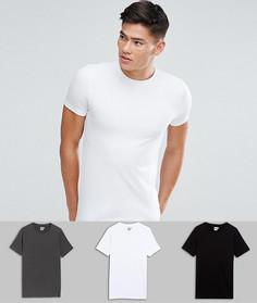 3 обтягивающих футболки с круглым вырезом (белая, черная, темно-серая) ASOS - СКИДКА - Мульти