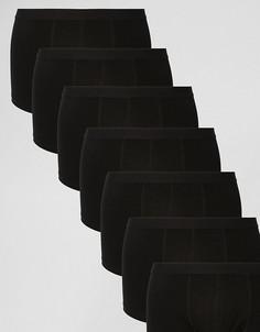 Набор из 7 пар черных боксеров-брифов ASOS - СКИДКА - Черный