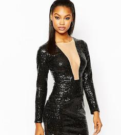 Облегающее платье с глубоким вырезом и пайетками Rare London - Черный