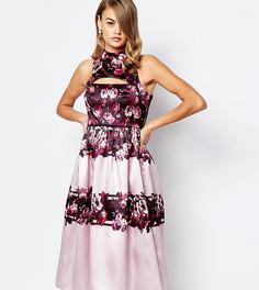 Пышное сатиновое платье миди для выпускного с вырезом True Violet - Мульти