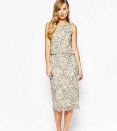 Блестящее платье миди 2-в-1 с отделкой Frock and Frill - Золотой