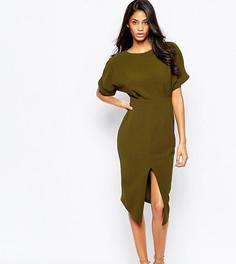 Тканое платье миди с V-образным вырезом сзади ASOS TALL - Черный