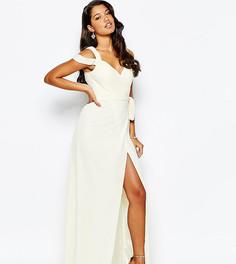 Платье макси с вырезом сердечком и открытыми плечами Forever Unique - Кремовый