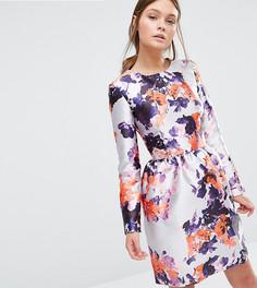 Атласное платье с юбкой-тюльпан True Violet - Мульти
