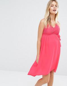 Платье для беременных с кружевным лифом Mamalicious Disa - Розовый Mama.Licious