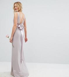 Платье макси с бантом на спинке TFNC WEDDING - Розовый