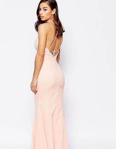 Платье с высокой горловиной, кружевом и завязкой сзади Jarlo Petite - Розовый
