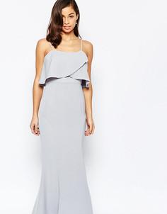 Платье макси с накладкой Jarlo Petite - Серый
