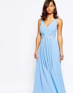 Шифоновое платье макси с отделкой пояса Jarlo Petite - Синий