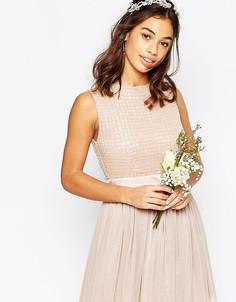 Платье мини с юбкой из тюля и отделкой Maya Petite - Розовый