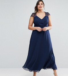 Платье макси с кружевом ASOS CURVE Kate - Темно-синий