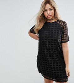 Цельнокройное платье из решетчатой сеточки ASOS CURVE - Черный