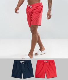 2 пары шортов для плавания красного и темно-синего цвета ASOS - СКИДКА - Мульти