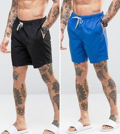 2 шорт для плавания средней длины (синие/черные) ASOS - СКИДКА - Мульти