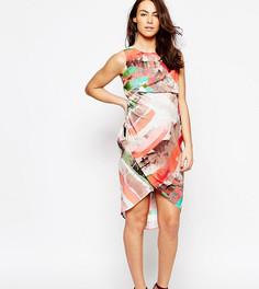 Платье миди для беременных с абстрактным принтом в полоску ASOS Maternity - Мульти