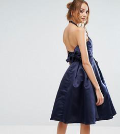 Платье с халтером и бантом сзади True Decadence Tall - Темно-синий