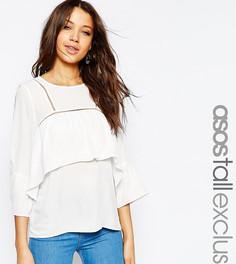 Блузка с оборками и отделкой ASOS TALL - Черный