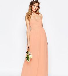 Платье-бандо макси с рюшами Vila - Розовый