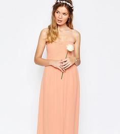 Платье миди с присборенным лифом-бандо Vila - Розовый