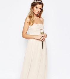 Присборенное платье миди с лифом-бандо Vila - Розовый
