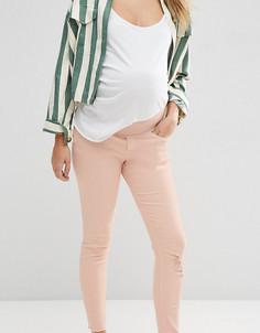 Розовые джинсы скинни для беременных с рваной отделкой ASOS Maternity Ridley - Розовый