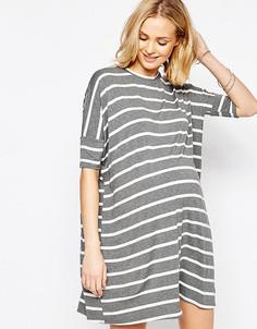 Платье-футболка в полоску для беременных ASOS Maternity - Мульти