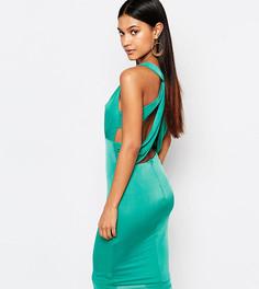 Платье миди с вырезами и отделкой на спине NaaNaa - Зеленый