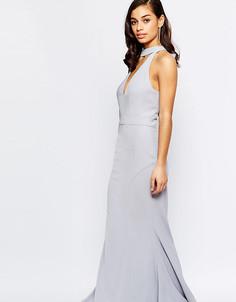 Платье макси с вырезом и завязкой у горловины Jarlo Petite - Фиолетовый