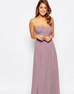 Платье-бандо макси с вышивкой на талии Little Mistress Petite - Розовый