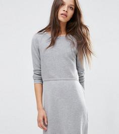 Трикотажное платье 2 в 1 на основе кашемира ASOS PETITE - Серый