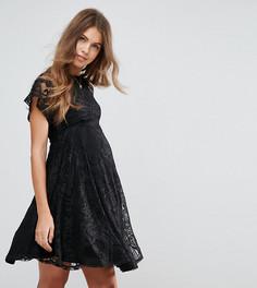Кружевное приталенное платье для беременных с рукавами-бабочка ASOS Maternity - Черный
