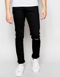 Черные джинсы слим с рваными коленями Only & Sons - Черный
