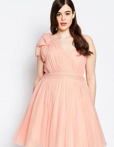 Платье для выпускного на одно плечо со складками Forever Unique Plus - Розовый