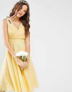 Платье миди для выпускного с декорированными плечиками TFNC Tall WEDDING - Желтый