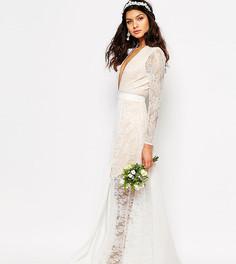 Свадебное кружевное платье макси с разрезом Fame and Partners - Белый