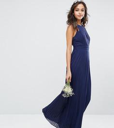 Плиссированное платье макси с высокой горловиной TFNC WEDDING - Темно-синий
